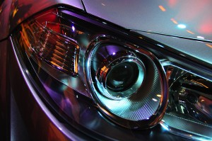 Left front headlight of a luxury car